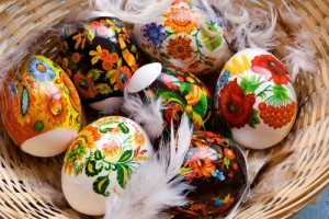Easter eggs, built in to the small basket